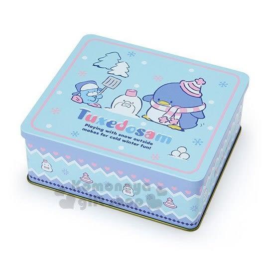 〔小禮堂〕山姆企鵝 日製方型收納鐵盒《淺藍》置物盒.空盒.2018聖誕系列