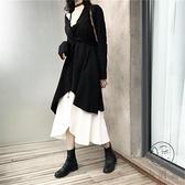 秋冬裝胖mm遮肚顯瘦連身裙子兩件套裝大碼女裝時尚【小酒窩服飾】