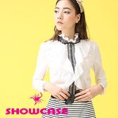 【SHOWCASE】蕾絲荷葉領襯衫式優雅短袖上衣(白)