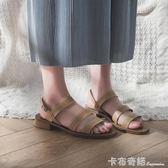 chic羅馬鞋子網紅涼鞋女復古學生夏2018新款韓版百搭港味粗跟女鞋 卡布奇諾