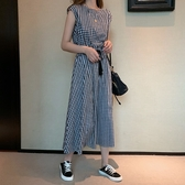 【A4832】格子短袖連身裙 S-2XL