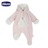 chicco-糖果兔系列-毛絨裡連帽側開兔裝-粉