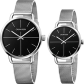 Calvin Klein CK Even 超然系列十字線米蘭帶對錶-黑x銀/42+36mm K7B21121+K7B23121