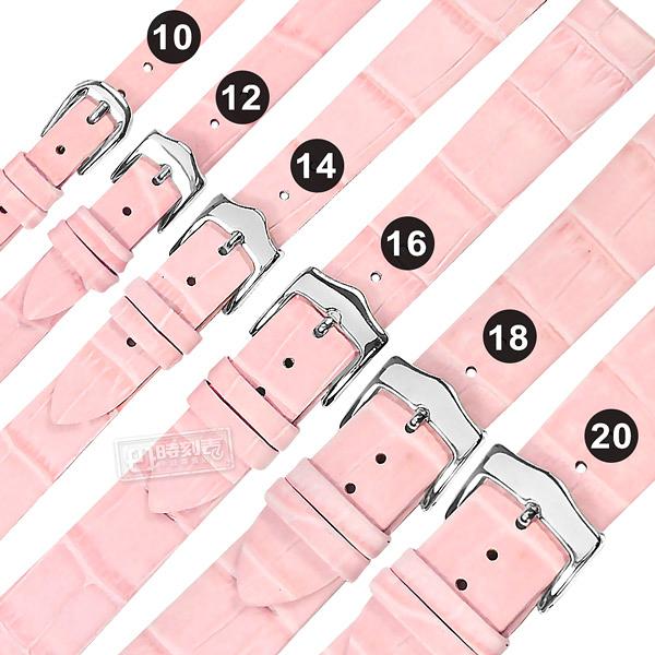 Watchband / 10.12.14.16.18.20 mm / 各品牌通用 真皮壓紋錶帶 不鏽鋼扣頭 粉色 #809-03-PKST-S