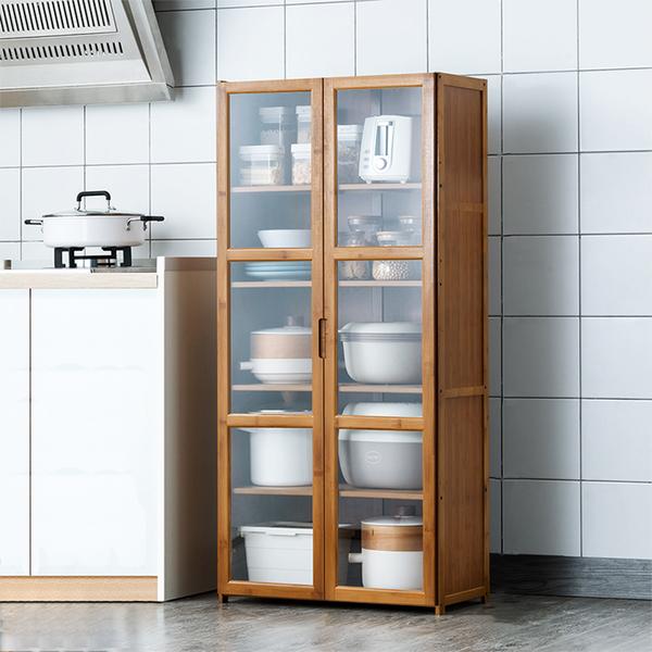 楠竹透明門餐廚收納櫃-雙門五層60cm 透明櫥窗書櫃 帶門收納櫃【Y10237】快樂生活網
