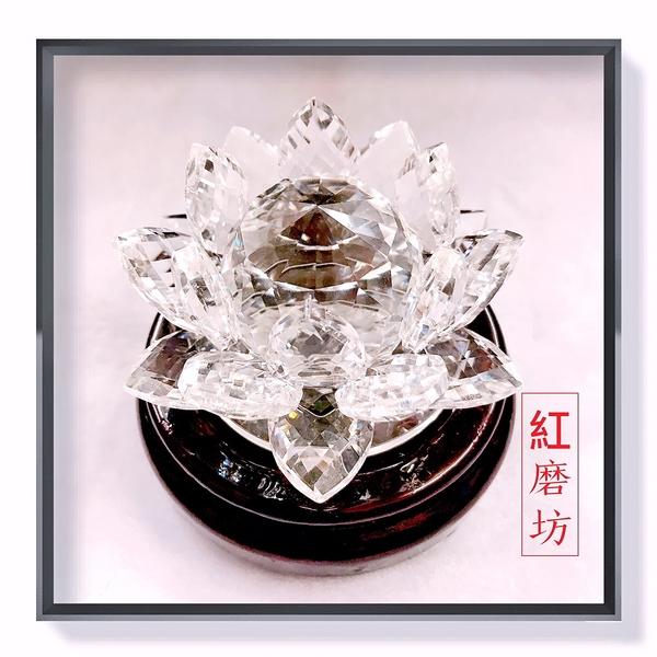 【Ruby工作坊】一朵白色奧地利水晶蓮花擺件+合成木架9.1CM(加持祈福) NO.112LW