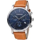 瑞士 WENGER Urban都會系列俐落美學三眼指針腕錶 01.1743.104
