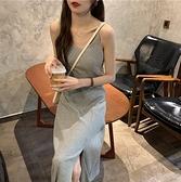 吊帶裙 夏季新款韓版修身吊帶連衣裙女開叉v領無袖氣質針織中長裙潮