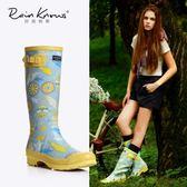 好雨時節女式高筒雨鞋時尚印花雨靴秋冬繁花橡膠歐美風高筒雨靴女