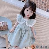 女童連身裙兒童裙子韓版格子女寶寶夏季短袖公主裙子兒童洋裝【淘夢屋】