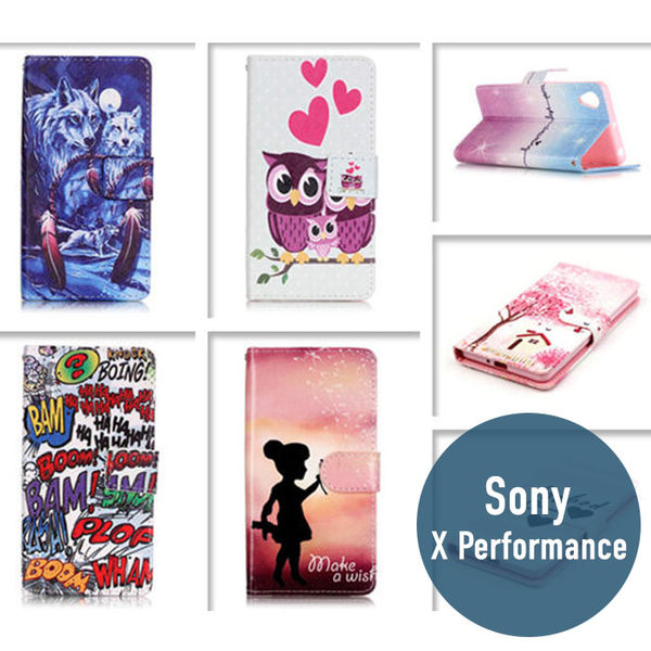 SONY Xperia X Performance 彩繪皮套 側翻皮套 支架 插卡 保護套 手機套 手機殼 保護殼