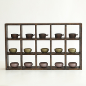 實木多寶閣茶杯架子茶壺茶具收納置物壁掛展示架中式復古茶架50格 潮流衣舍