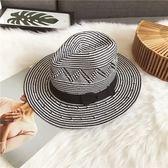 黑白英倫爵士禮帽男撞色幾何手工編織日系復古寬檐個性五分草帽女