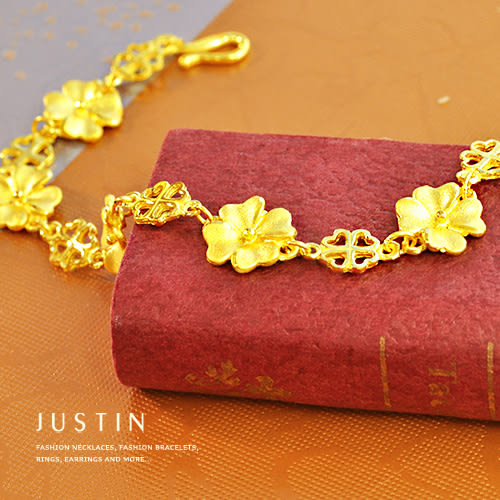 Justin金緻品 黃金手鍊 香氣環繞 金飾 9999純金手環 幸運草 金手鍊 花朵 帶來好運