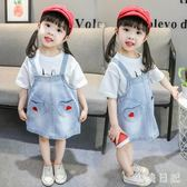 1嬰兒童裝2歲女寶寶牛仔背帶裙子3小女孩夏裝連衣裙4女童牛仔洋裝 aj10600『小美日記』