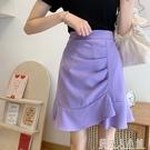 不規則高腰半身裙女夏季新款紫色包臀裙魚尾裙顯瘦A字裙短裙「錢夫人小鋪」