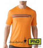 Smartwool 美國 SF904-169 Logo Stripe Tee 條紋圓領羊毛短袖薄排汗衣 橘色 男款