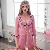 大尺碼睡衣 Annabery粉柔紗二件式罩衫丁褲組 緞面《SV6742》快樂生活網