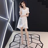 萬聖節狂歡   白色晚禮服女2018新款短款魚尾宴會高貴優雅性感名媛洋裝小禮服裙