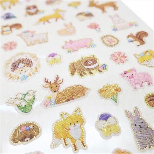 日本製金箔鑲飾仿刺繡系列貼紙(森林小動物)★funbox★KAMIO_KM08499