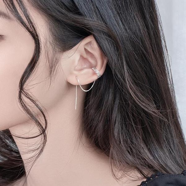 S925銀耳釘女氣質韓版簡約百搭耳線長款流蘇鏤空星月耳環耳飾品YJ1979【宅男時代城】