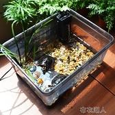 烏龜缸水陸缸帶曬臺塑料透明小中型巴西草龜鱷龜別墅養龜 YJT 【極速出貨】