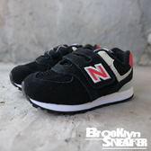 NEWBALANCE NB574 小童 黑 紅 麂皮 魔鬼氈 黏帶 小童 (布魯克林) IV574SI