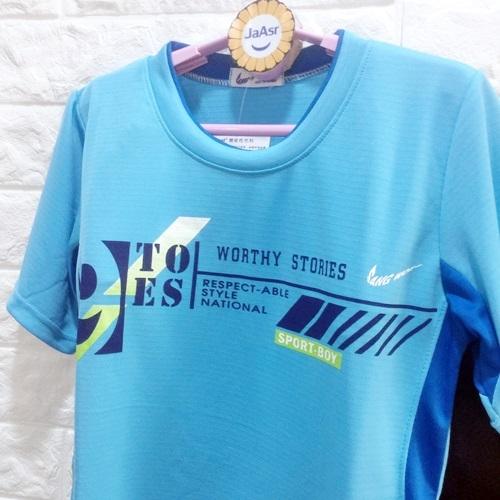 ☆棒棒糖童裝☆(E1529藍)夏男大童氣質字母排汗套裝 120-170 台灣製造