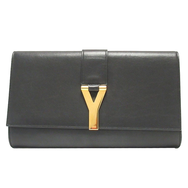 SAINT LAURENT YSL 聖羅蘭 黑色牛皮Y字金釦手拿包 Y Clutch Bag 1311213【BRAND OFF】