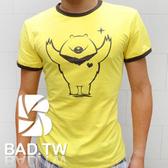 奢華壞男《台灣黑熊限量款 - 超舒適彈性合身剪裁T恤 (黃底咖啡邊)  》【S / M / L / XL / 2L / 3L 】