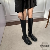 高筒超纖皮軟底馬丁靴騎士靴女靴帥氣長筒靴【時尚大衣櫥】