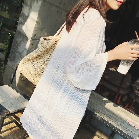 新款日韓女裝薄中長版雪紡防曬衣開衫外套柔美沙灘防曬衫【一周年店慶限時85折】