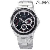 ALBA / 5Y66-X004D / WIRED 時尚型男輕感逆跳式星期三眼不繡鋼手錶 黑色 39mm
