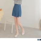 《CA2239-》高含棉造型排釦層次牛仔短裙 OB嚴選