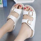 涼拖鞋女2019夏季新款真皮休閒百搭時尚外穿平底舒適防滑一字拖鞋