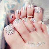 假指甲金屬銀色閃鑚 新娘短款指甲片 腳趾甲成品美甲腳指甲貼片 果果輕時尚