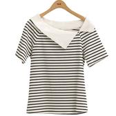 夏日520[H2O]不對稱領羅紋拼接針織短袖上衣 - 紅/藍/白底黑條紋色 #9671012