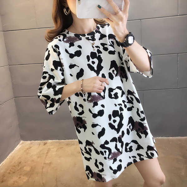 EASON SHOP(GW5498)實拍純棉滿版豹紋印花長版OVERSIZE短袖T恤裙連身裙洋裝女上衣服寬鬆內搭衫棉T恤
