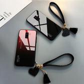 三星 A8 Plus 2018 手機殼 玻璃鏡面防摔保護套 漸變時尚 個性簡約男女款 創意手繩 全包手機套 A8+
