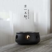 現貨五折 日式黑陶蠟燭台粗陶蠟燭干燒台煮茶爐陶瓷復古小溫茶器茶壺  11-5