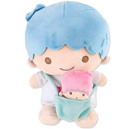 小禮堂 雙子星KIKI 絨毛玩偶 絨毛娃娃 布偶 (M 藍粉 子母娃娃) 4901610-05259