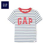 Gap男嬰幼童 Logo條紋圓領短袖T恤 467446-藍色條紋