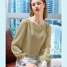 雪紡衫長袖撞色格子法式復古方領上衣(二色S-2XL可選)/設計家 AL310081