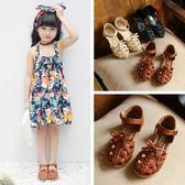 2018新款夏季韓版女童公主涼鞋編織鏤空平底羅馬包頭兒童沙灘鞋子