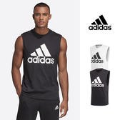 【GT】Adidas 黑白 無袖T恤 純棉 運動 休閒 素色 上衣 背心 愛迪達 基本款 Logo
