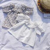 七夕全館85折 滿印向日葵t恤1歲嬰兒女寶寶翻領娃娃上衣潮