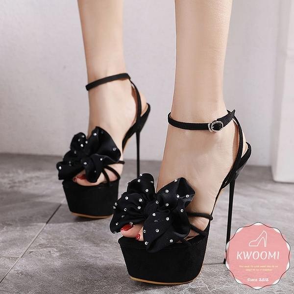 高跟涼鞋 細跟甜美大蝴蝶結水鑽點綴 高跟鞋 晚宴鞋 新娘鞋#*KWOOMI-A31