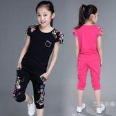 運動服2019新款女童純棉套裝 3-12歲中大童韓版套裝夏款運動短袖褲子