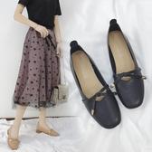 瑪麗珍鞋粗跟奶奶鞋春秋新款中跟一字扣復古瑪麗珍女鞋蝴蝶結方頭淺口單鞋 JUST M