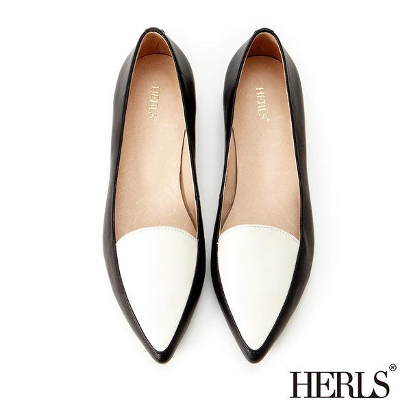 樂福鞋-HERLS 全真皮 素面尖頭樂福鞋-黑白色